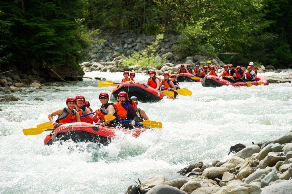 Rafting the Green River on a hot summer day in Whistler.