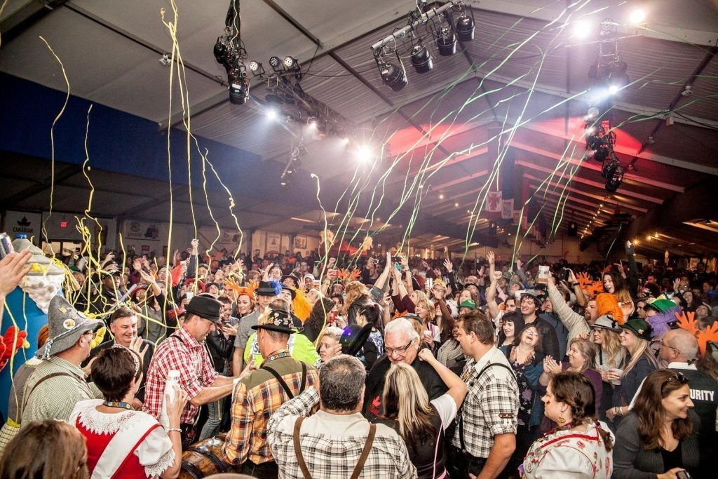 Streamers fill the air at the Kitchener-Waterloo Oktoberfest.