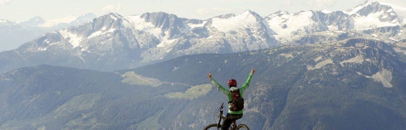 Stan Rey biking on Mount Barbour.