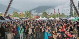 Whistler Village Beer Festival celebrations in Olympic Plaza.